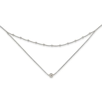Sterling Silver Polished Beaded w/4 in ext Choker