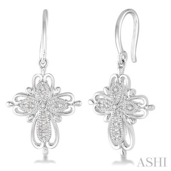 silver cross diamond earrings