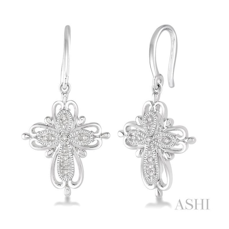 Gemstone Collection silver cross diamond earrings