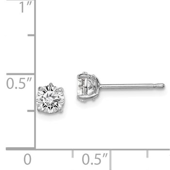 Sterling Silver Rhodium-plated Madi K 5mm Round CZ Stud Earrings