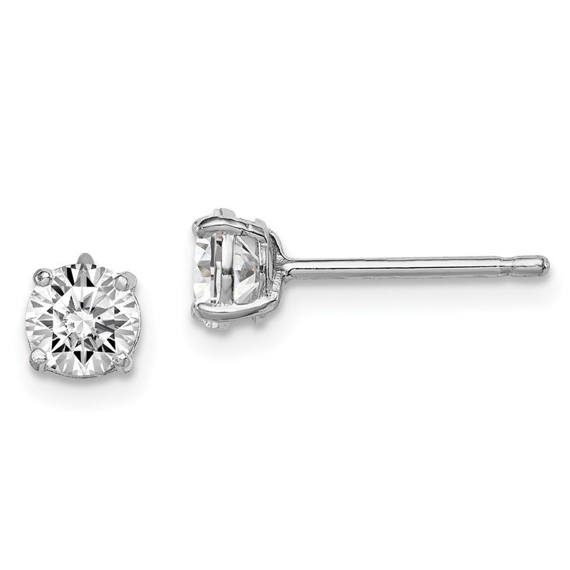 Quality Gold Sterling Silver Rhodium-plated Madi K 5mm Round CZ Stud Earrings