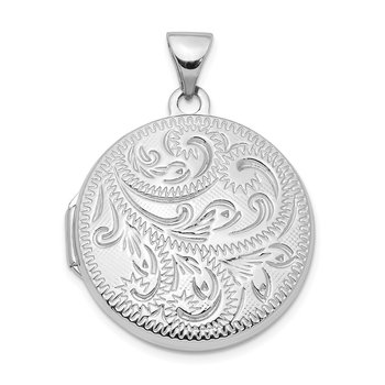 Sterling Silver Rhodium-plated 20mm Scroll Round Locket
