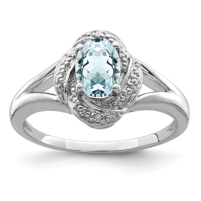 Quality Gold Sterling Silver Rhodium-plated Diam. & Aquamarine Ring