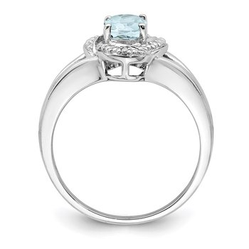 Sterling Silver Rhodium-plated Diam. & Aquamarine Ring