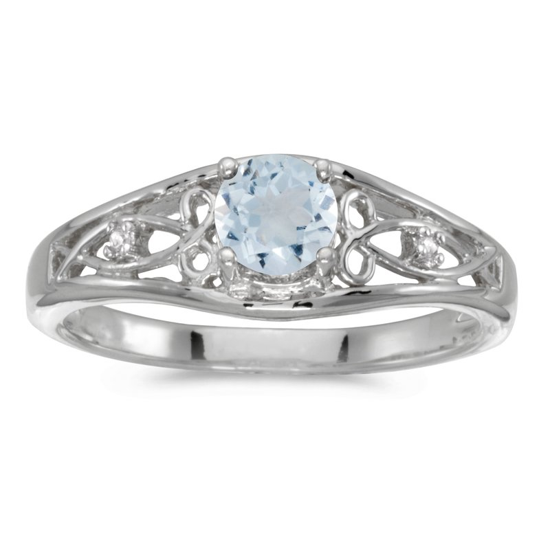 Color Merchants 10k White Gold Round Aquamarine And Diamond Ring