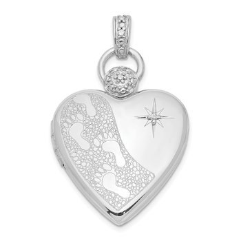 Sterling Silver Rhodium-plate 21mm Diamond Accent Footprint Locket