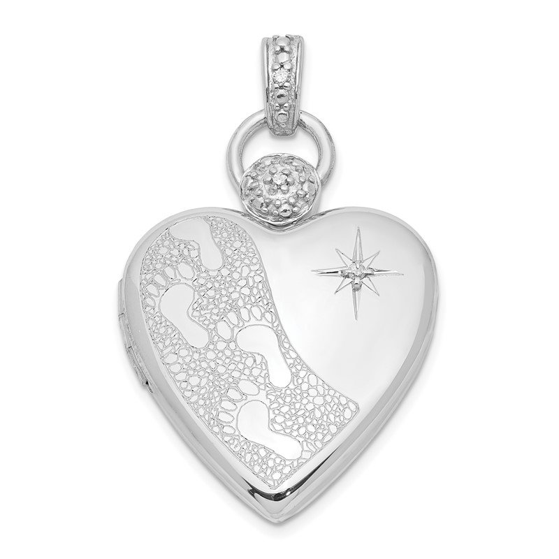 Quality Gold Sterling Silver Rhodium-plate 21mm Diamond Accent Footprint Locket