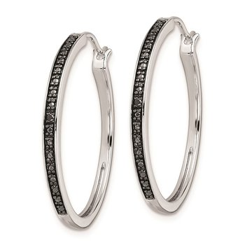 Sterling Silver Rhod Plated Black Diamond Hoop Earrings