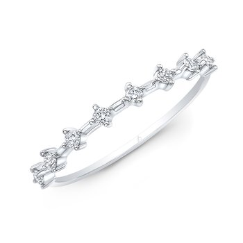White Gold Offset Diamond Prong Stackable Band