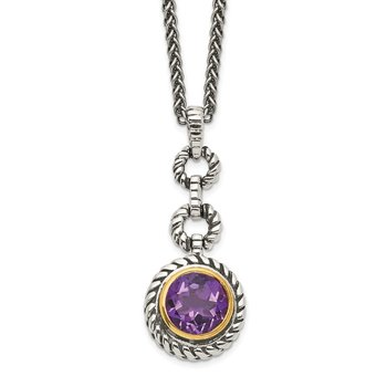 Sterling Silver w/Gold-tone Flash GP Amethyst Necklace