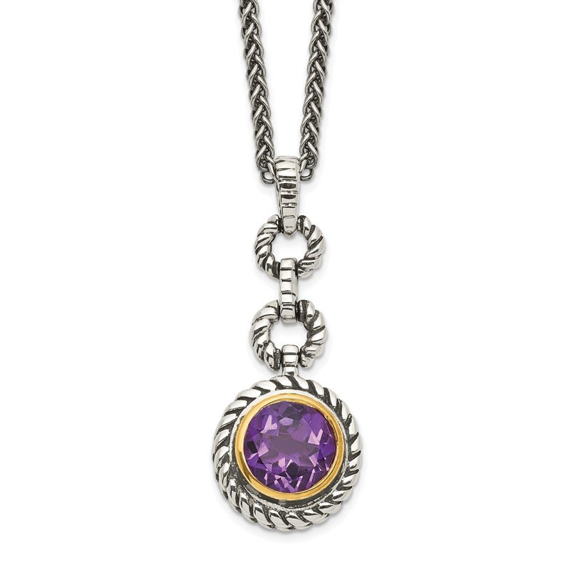 Quality Gold Sterling Silver w/Gold-tone Flash GP Amethyst Necklace