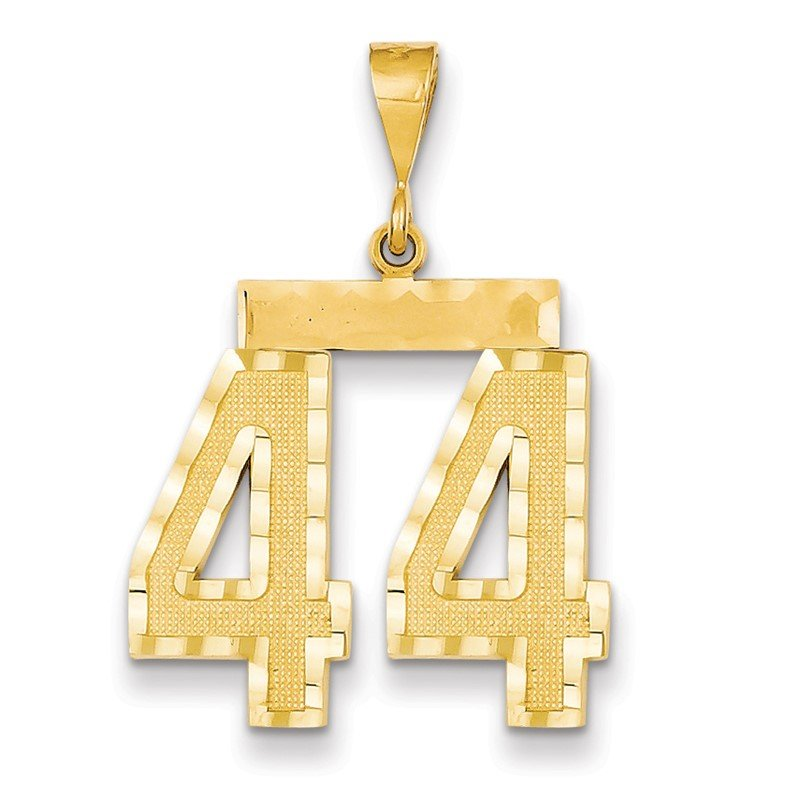 14k Large Diamond-cut Number 44 Charm