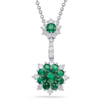 White Gold Emerald & Diamond Pendant