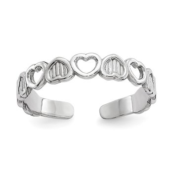 14k White Gold Polished Hearts Toe Ring