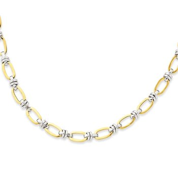 14k Two-tone Fancy Link Necklace