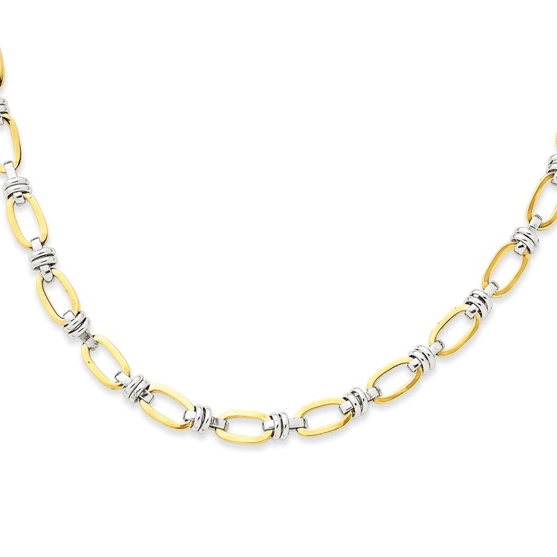 Quality Gold 14k Two-tone Fancy Link Necklace