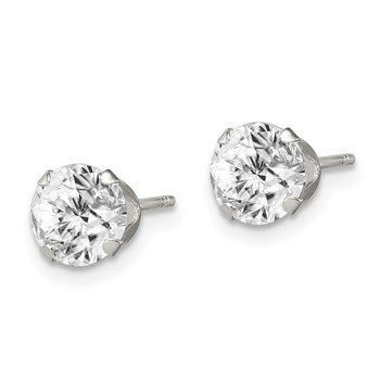 Sterling Silver CZ 6mm Post Earrings