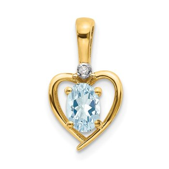 14k Aquamarine and Diamond Heart Pendant