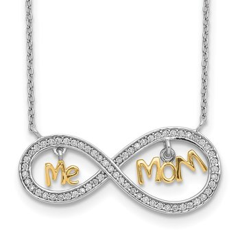 Sterling Silver Gold-plated MOM and ME CZ Infinity Necklace
