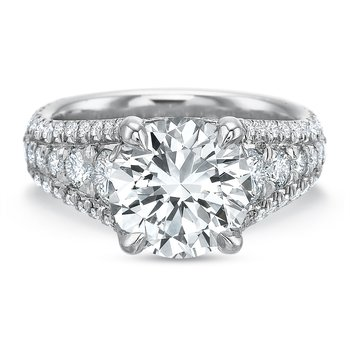 18K White gold halo  Semi Mount for 2.00.00-4.00 ct center