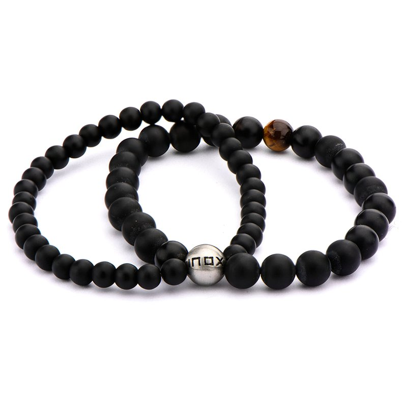 INOX Double Strand Tiger Eye Bead Bracelet
