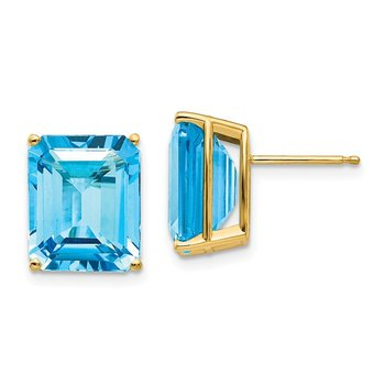14k 12x10mm Emerald Cut Blue Topaz Earrings