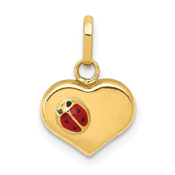 14K Polished Enameled 3D Ladybug Heart Pendant