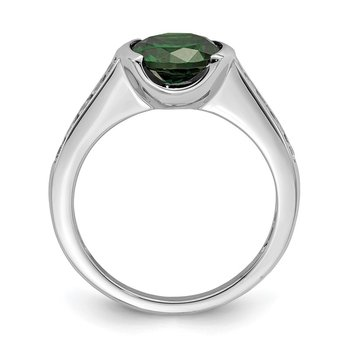 Sterling Silver Rhodium-plated Green & White Bezel CZ Ring