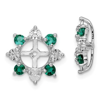 Sterling Silver Rhodium Diam. & Created Emerald Earring Jacket