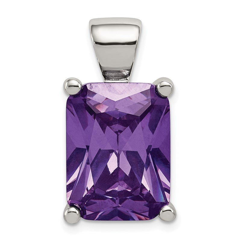 Quality Gold Sterling Silver Purple CZ Pendant