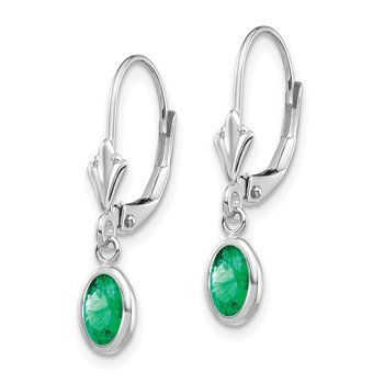 14k White Gold 6x4 Oval Bezel May/Emerald Leverback Earrings