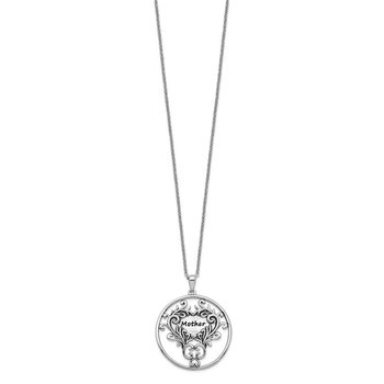 Sterling Silver Antiqued Mother 18in. Necklace