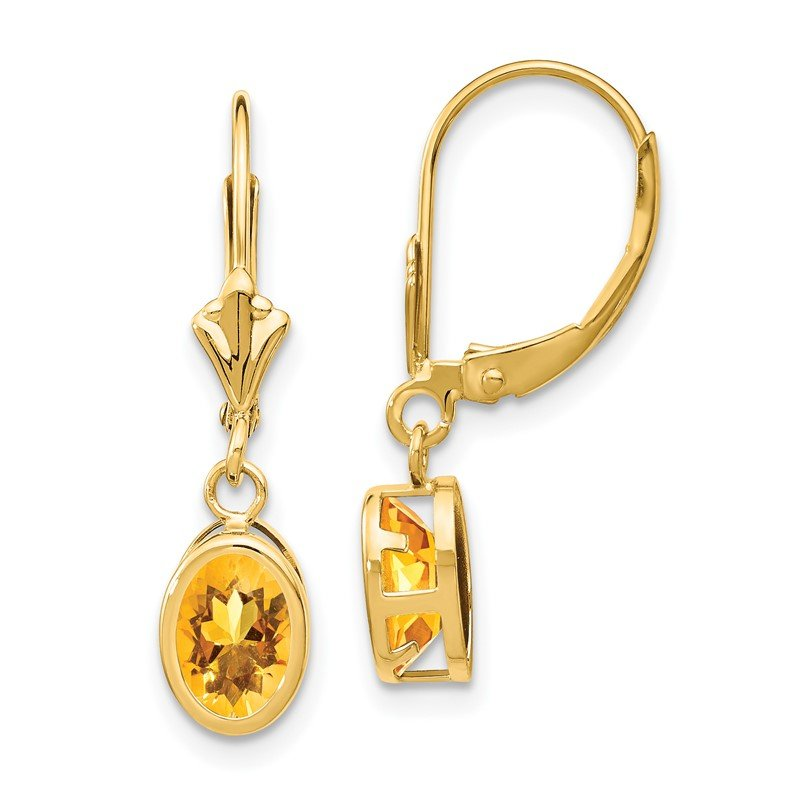 Quality Gold 14k Citrine Oval Leverback Earrings