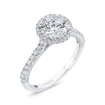 Round Diamond Halo Engagement Ring In 14K White Gold (Semi-Mount)