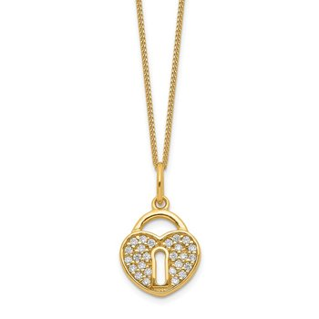 Sterling Silver Gold-tone CZ Heart Lock Necklace