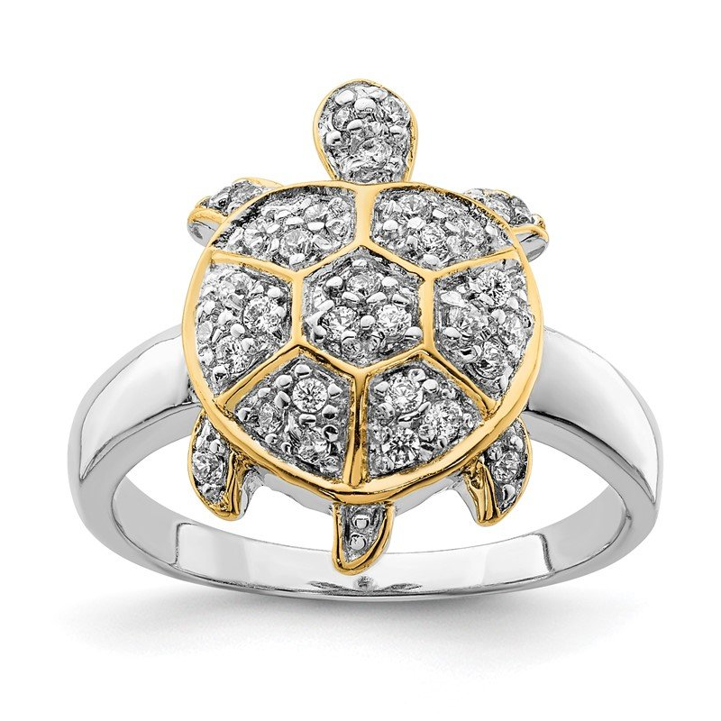 Quality Gold Sterling Silver CZ and Flash Gold-Plated Turtle Ring
