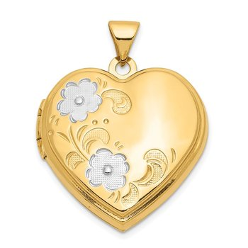 14ky w/ White Rhodium Floral Heart Locket