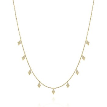 17.5inch 14K Yellow Gold Diamond Station Necklace