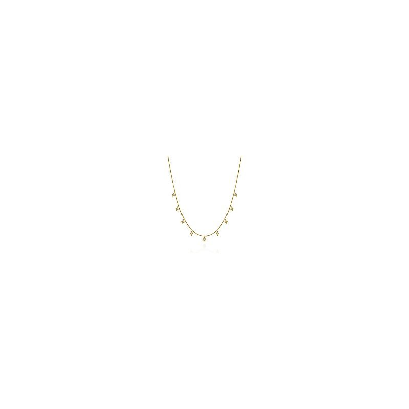Gabriel Fashion 17.5inch 14K Yellow Gold Diamond Station Necklace