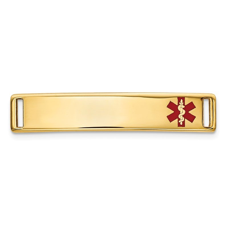 Quality Gold 14K Epoxy Enameled Medical ID Off Ctr Plate # 816