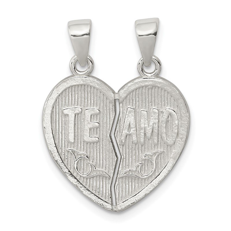 Quality Gold Sterling Silver Polished Te Amo Break Apart Heart Pendant