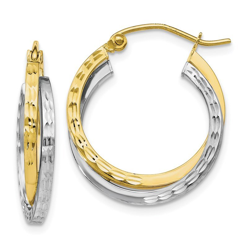 Leslie's Leslie's 10K Two-tone Textured Hinged Hoop Earrings