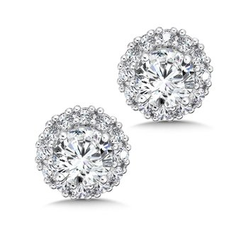 Diamond Halo Studs in14K White Gold with Platinum Post (5/8ct. tw.)