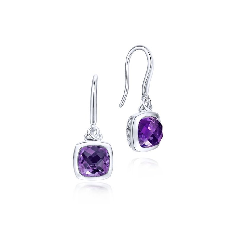 Gabriel Fashion 925 Sterling Silver Cushion Bezel Amethyst Drop Earrings