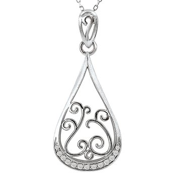 14kw Swirl Design Diamond Pendant