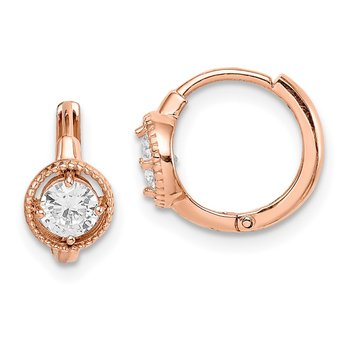 14k Madi K Rose Gold Round CZ Hoop Earrings