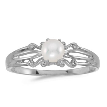 10k White Gold Freshwater Cultured Pearl Ring