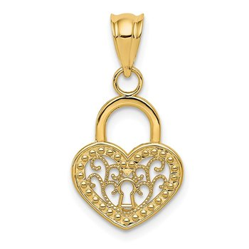14K Polished Filigree Heart Lock Charm