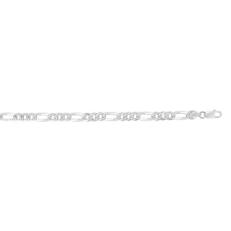 Royal Chain Silver 8.1mm White Pave Figaro Chain