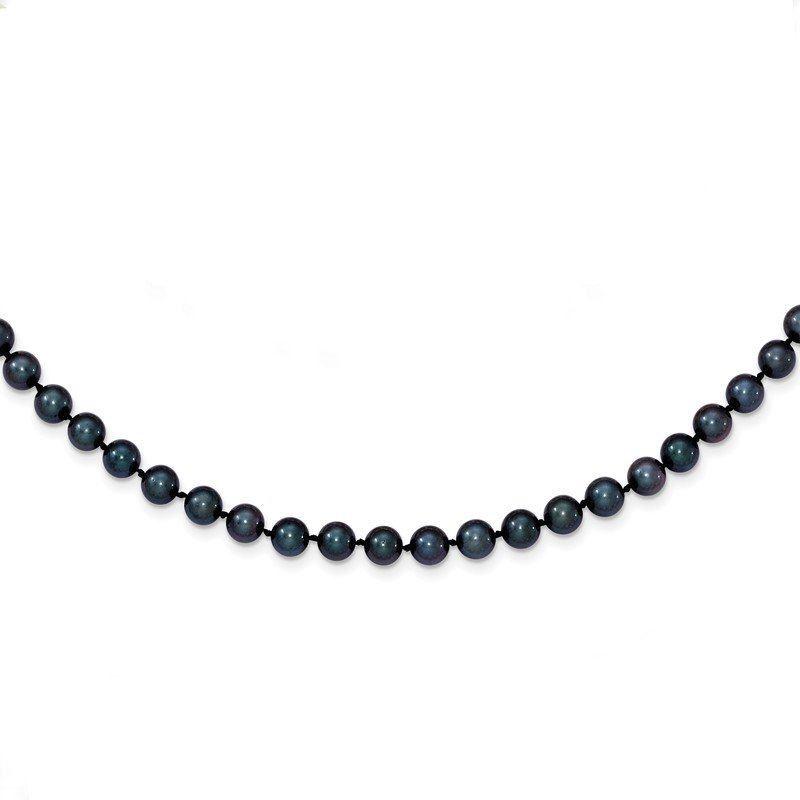 Quality Gold 14k White Gold 5-6mm Round Black Saltwater Akoya Cultured Pearl Necklace